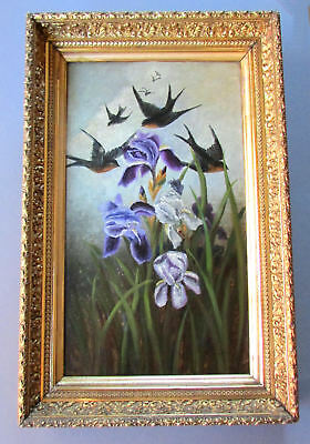 ANTIQUE 19th Century VICTORIAN ERA Oil Painting on Board SPARROWS & IRISES 1880