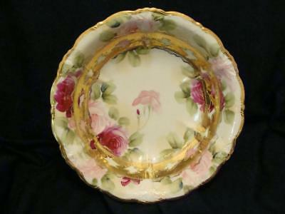 Stunning Nippon Bowl Pink Roses Beading And Gilded Trim Excellent Condition