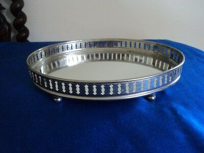 Mirror glass jewellery tray with gallery vgc