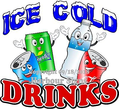 Ice Cold Drinks DECAL (CHOOSE YOUR SIZE) Water Soda Truck Concession Sticker