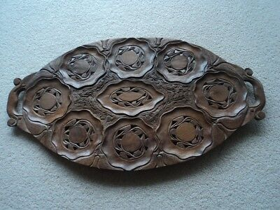 Old antique/vintage Indian wooden carved tray - beautiful!