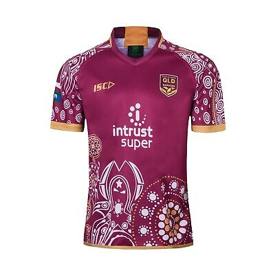 Large State Of Origin Queensland Maroons Indigenous 2018/2019 Rugby Jersey.
