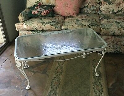 Woodard Vintage White Wrought Iron Coffee Table Original Wavy Glass Top