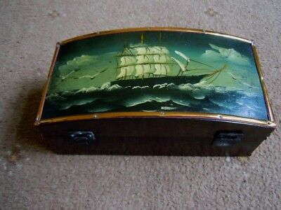 Lacquered Nautical Themed Casket Shaped Trinket Box