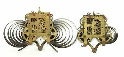 Two Gilbert 8 Day Time & Strike Mantle Clock Movements - Parts Or Repair - Ri131