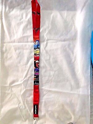 Disney Lanyard red Cars 45 inches long 1 in wide Lightning Doc Mater Guido Luigi