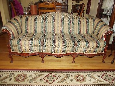 Mahogany Chippendale Mid-1900's Camelback Style Claw and Ball Sofa and Chair