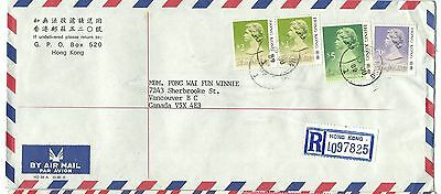 China Hong Kong registered airmail cover $9.70 rate to Canada 1989