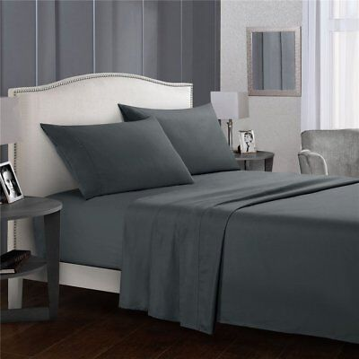 Top Microfiber Bed Sheets Set Flat Fitted Pillowcase Double/Queen/King Size AMC
