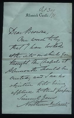 1871 A/L DUKE of NORTHMBERLAND, Alnwick Castle letter re CHAPEL at ALNMOUTH