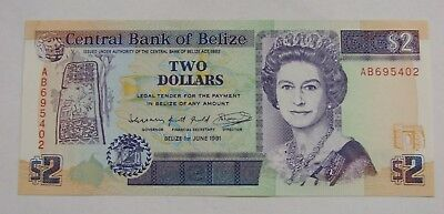 Belize - 1991 - $2 Bank Note - Pick-52b - Choice UNC