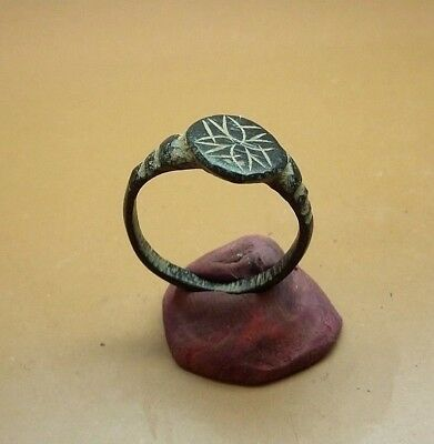 Fine Old Antique bronze Post- Medieval Ring with  Engraved  19mm / US-9 #2973