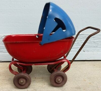 Pressed Steel Red & Blue Miniature Doll House Toy Doll Buggy