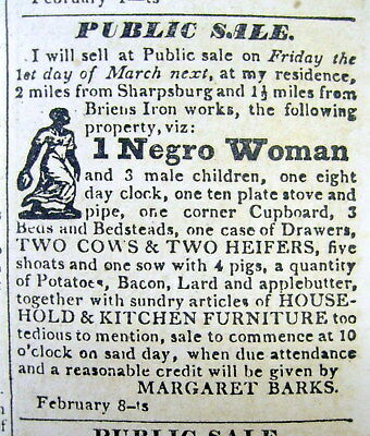 1833 Hagerstown MD newspaper w illustrated ad SALE of FEMALE SLAVE &HER CHILDREN