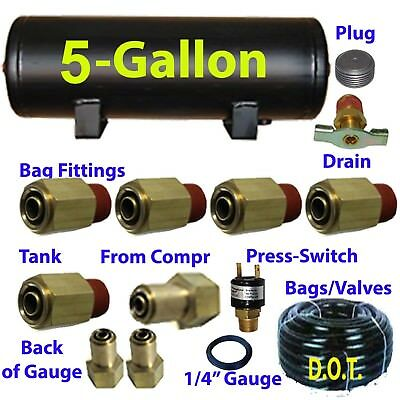 """xfitx 5 Gallon Air Tank with Fittings Kit Pressure Switch 1/4"""" / 1/2"""" airhose"""