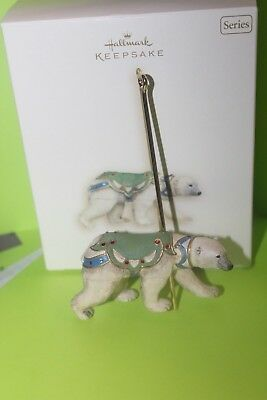 2007 Series  Hallmark Keepsake Grand Polar Bear Carousel Ride Ornament Iob