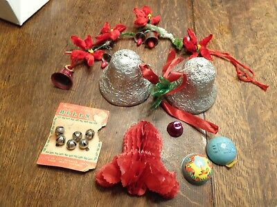 Vintage Christmas Bell Lot Foil Chenille Package Bell Candy Holder Paper Bell