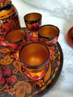 Vintage, Wooden Lacquer Hand Painted Japanese Sake Set Plus Covered Dish