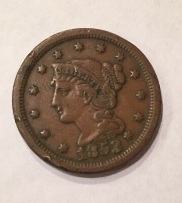 1853 Braided Hair Large Cent One Penny