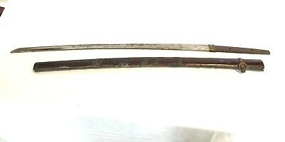 Antique Samari Sword with a wrapped Wood Scabbard