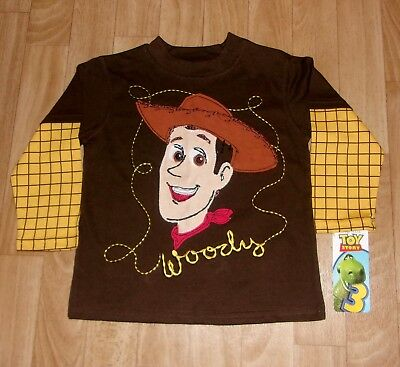 Disney Pixar Toy Story Woody's Face Long Sleeve 2 In 1 Shirt Size 3T New Tags