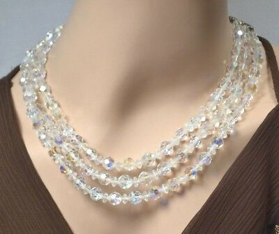 Vintage Clear Aurora Borealis Glass Crystal Beads Multi Strand Choker Necklace