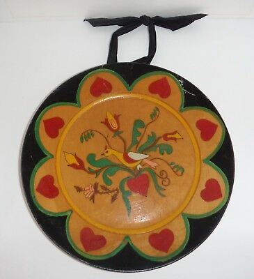 Vintage Hand Painted Folk Art Wooden Plate by Leonid Sokoloff