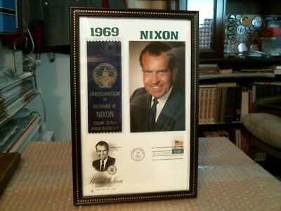 Richard M. Nixon Original Framed Inaugural Ribbon, Postcard And Cover Lot - 1969