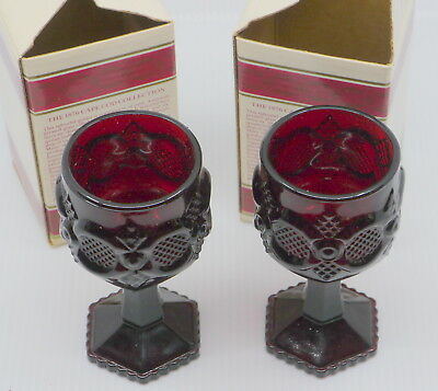 2 Vintage Avon Cape Cod Ruby Red Wine Goblets, In Original Boxes, 4 5/8 Inches