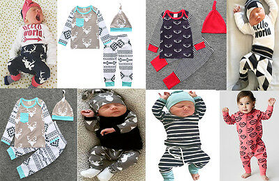 3pcs Newborn Infant Kids Baby Boy Girl Tops/Rompers+Pants+Hat Outfit Clothes Set