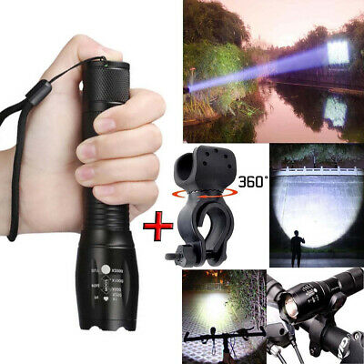 Tactical Police T6 LED 90000LM Flashlight Torch Light 5-mode Zoomable 18650+Case