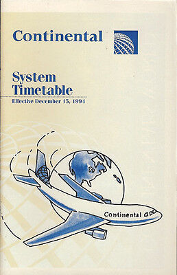 Continental Airlines system timetable 12/15/94 [308CO] Buy 2 Get 1 Free