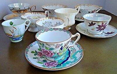 Vintage AYNSLEY Crown Staffordshire +MORE Bone China Tea Cups Saucers 14 Pc Lot