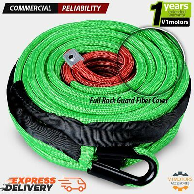 """95' x 3/8"""" SYNTHETIC WINCH CABLE Line Rope 22000 LBs w/ Green Rock Guard Fiber"""