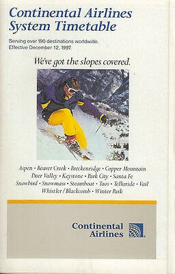 Continental Airlines system timetable 12/12/97 [308CO] Buy 2 Get 1 Free
