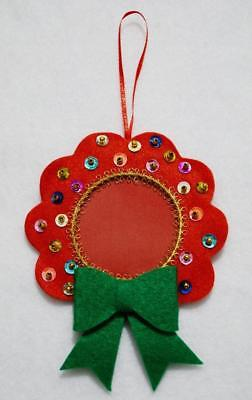 """Hand Crafted 5"""" Red Felt Wreath Jeweled Christmas Photo Ornament"""