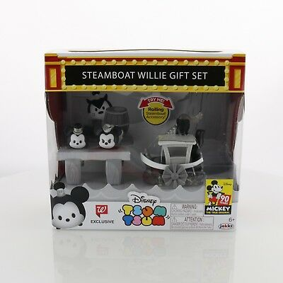 New Exclusive Disney Tsum Tsum Steamboat Willie 3 Pc Rolling Gift Set 90 Years