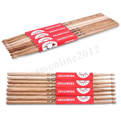 2Pcs 5A Durable Oak Wood Professional Drumsticks Tip Drum Rock Stick