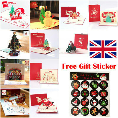 Handmade 3D Pop Up Greeting Cards Christmas Xmas Gifts Card Free Gift Sticker