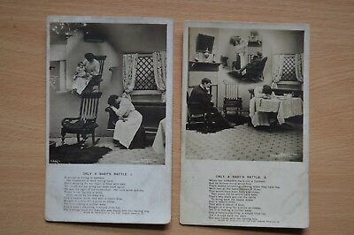 """PART SET OF 2 POSTCARDS - Bamforth Song Cards """"Only A Baby's Rattle"""""""
