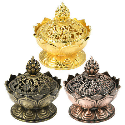 Metal Chinese Lotus Incense Smoke Burner Cone Holder Stove Backflow Censer Decor