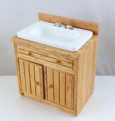Dolls House Miniature Kitchen Furniture Light Oak T&G Sink Base Unit