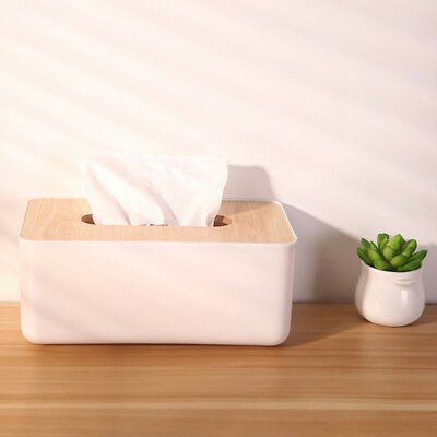 Wooden Cover Tissue Box Paper Napkin Storage Holder Case Organizer Container B