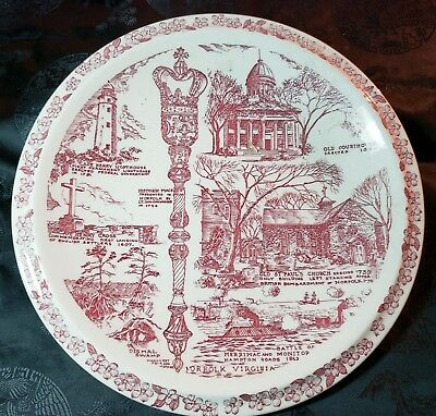 Historic Norfolk in Tidewater Virginia Collector Plate by Vernon Kilns