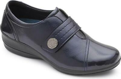 Padders ROSE Ladies Womens Leather Wide Touch Fasten Casual Comfort Shoes Navy