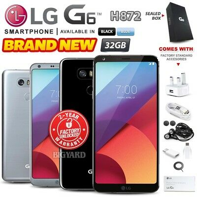 New & Sealed Factory Unlocked LG G6 H872 Black Blue 32GB Android Smartphone