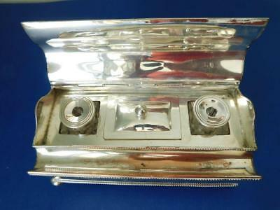 Old Sheffield Silver Plate on Copper Ink stand Inkwell c1850s