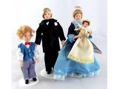 Dolls House Victorian Family of 4 People Miniature Porcelain Figures