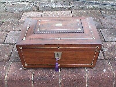 Regency / William 1V Rosewood Sarcophagus Trinket / Jewellery / Sewing Box