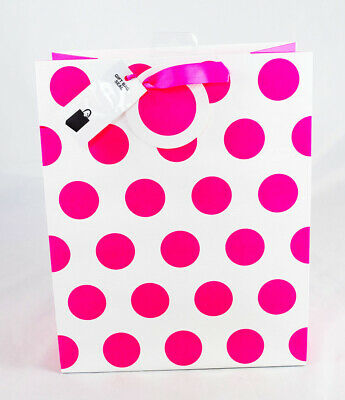SMALL GIFT BAG Neon Pink Polka Dot Spotty Ladies Girls Occasion Birthday Her